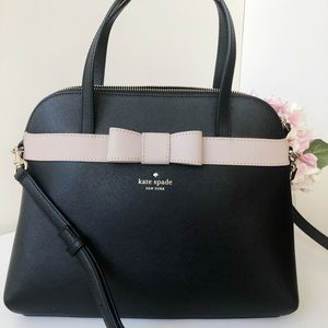 NWT Kate Spade Saffiano Bag Satchel Black Bow